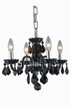 Elegant 7804D15B-JT/RC - 7804 Rococo Collection Pendant D:15in H:12in Lt:4 Black Finish (Royal Cut Crystals)