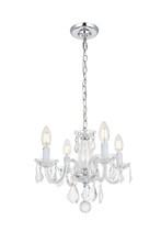 Elegant 7804D15C/RC - 7804 Rococo Collection Pendant D:15in H:12in Lt:4 Chrome Finish (Royal Cut Crystals)