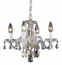 Elegant 7804D15G/RC - 7804 Rococo Collection Pendant D:15in H:12in Lt:4 Gold Finish (Royal Cut Crystals)
