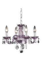 Elegant 7804D15PE/RC - 7804 Rococo Collection Pendant D:15in H:12in Lt:4 Purple Finish (Royal Cut Crystals)