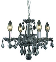 Elegant 7804D15SS-SS/RC - 7804 Rococo Collection Pendant D:15in H:12in Lt:4 Silver Shade Finish (Royal Cut Crystals)