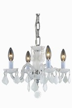 Elegant 7804D15WH-WH/RC - 7804 Rococo Collection Pendant D:15in H:12in Lt:4 White Finish (Royal Cut Crystals)