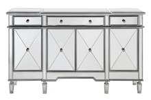 Elegant MF6-1001SC - 3 Drawer 4 Door Cabinet 60 in. x 14 in. x 36 in. in Silver Clear