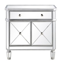 Elegant MF6-1002SC - 1 Drawer 2 Door Cabinet 32 in. x 16 in. x 32 in. in Silver Clear
