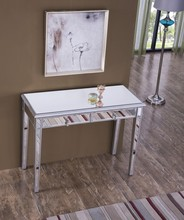 Elegant MF6-1006S - Vanity Table 42 in. x 18 in. x 31 in. in Silver paint