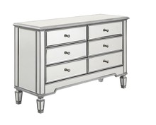 Elegant MF6-1017S - 6 Drawer Dresser 48 in. x 18 in. x 32 in. in Silver paint