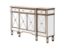 Elegant MF6-1101GC - 3 Drawer 4 Door Cabinet 60 in. x 14 in. x 36 in. in Gold Clear