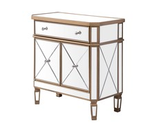 Elegant MF6-1102GC - 1 Drawer 2 Door Cabinet 32 in. x 16 in. x 32 in. in Gold Clear