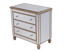 Elegant MF6-1119G - 3 Drawer Bedside Cabinet 33 in.x 18 in.x 32 in. in Gold paint