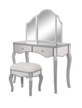 Elegant MF6-2014S - Vanity Table 42 in. x 18 in. x 31 in. and Mirror 37 in. x 24 in. and Chair 18 in. x 14 in. x 18 in.