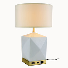 Elegant TL-3015 - Brio Collection 1-Light Brushed Brass and White Finish Table Lamp