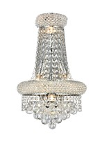 Elegant V1800W12SC/RC - 1800 Primo Collection Wall Sconce D:12in H:17in E:7in Lt:4 Chrome Finish (Royal Cut Crystals)