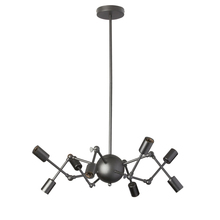 Dainolite DRS-288C-MB - 8LT Chandelier, Matte Black w/ Adjustable Arms