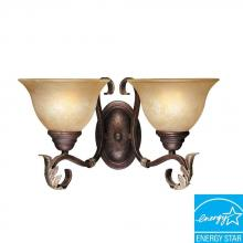 World Imports WI262324N - Olympus Tradition Collection 2-Light Crackled Bronze with Silver Sconce