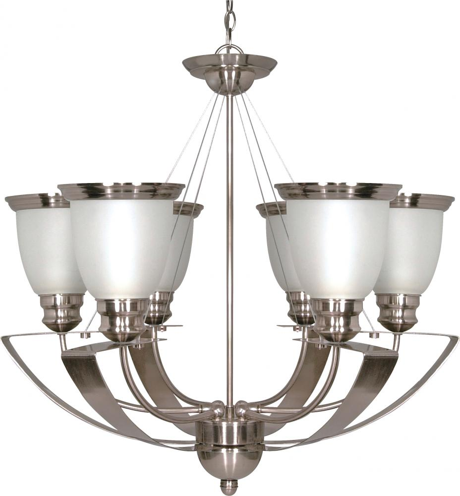 "Village Lighting in Bellingham, Washington, United States,  5MVY, Palladium - 6 Light - 25"" - Chandelier - w/ Satin Frosted Glass Shades, Palladium"