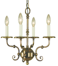 Framburg 2374 BN - 4-Light Brushed Nickel Jamestown Mini Chandelier