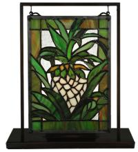 "Meyda Tiffany 106243 - 6""W X 9""H Welcome Pineapple Lighted Mini Tabletop Window"