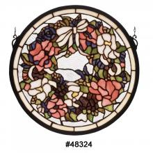 "Meyda Tiffany 48324 - 15""W X 15""H Revival Wreath & Garland Medallion Stained Glass Window"