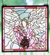 "Meyda Tiffany 48512 - 16"" X 16"" ANGEL WITH BOUQUET WINDOW"