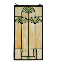 "Meyda Tiffany 67787 - 11""W X 20""H Ginkgo Stained Glass Window"