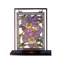 "Meyda Tiffany 68409 - 9.5""W X 10.53""H Pansies Lighted Mini Tabletop Window"