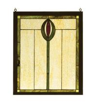 "Meyda Tiffany 98100 - 14""W X 17""H Spear Wood Frame Stained Glass Window"
